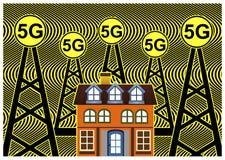 Κίνδυνοι για την υγεία με τα δίκτυα 5G διανυσματική απεικόνιση