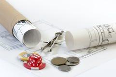 Κίνδυνοι και ανταμοιβές Οικοδομικής Βιομηχανίας στοκ εικόνες