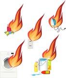 Κίνδυνοι πυρκαγιάς γύρω από το σπίτι σας απεικόνιση αποθεμάτων