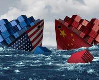 Κίνδυνος εμπορικών πολέμων της Κίνας Ηνωμένες Πολιτείες διανυσματική απεικόνιση