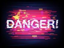 Κίνδυνος επιγραφής και η σημαία της Κίνας στη δυσλειτουργία ελεύθερη απεικόνιση δικαιώματος