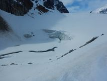 Κίνδυνος crevasse στον παγετώνα στοκ εικόνες