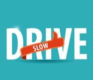 Κίνηση αργή και ασφαλής οδηγώντας έννοια εικόνων Στοκ Εικόνα