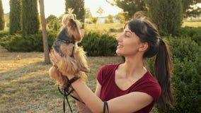 κίνηση αργή Όμορφο παιχνίδι κοριτσιών brunette με το τεριέ του Γιορκσάιρ σκυλιών της που θέτει υπαίθρια απόθεμα βίντεο