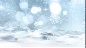 Κίνηση γραφική του χιονιού Χριστουγέννων που πέφτει επάνω σε ένα χιονώδες τοπίο απόθεμα βίντεο