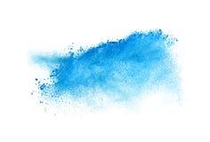 Κίνηση παγώματος της μπλε έκρηξης σκόνης που απομονώνεται επάνω Στοκ Εικόνα