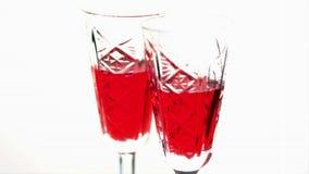 Κίνηση στάσεων γυαλιών κρασιού απόθεμα βίντεο