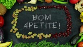 Κίνηση στάσεων φρούτων Bom apetite πορτογαλική, σε αγγλικό Bon appetit Στοκ φωτογραφία με δικαίωμα ελεύθερης χρήσης