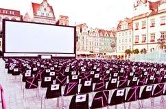 Κίνηση-στην οθόνη κινηματογράφων θεάτρων Στοκ φωτογραφία με δικαίωμα ελεύθερης χρήσης