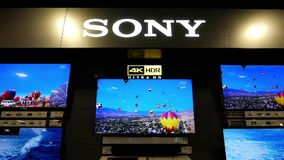 Κίνηση της TV της Sony επίδειξης στην πώληση φιλμ μικρού μήκους