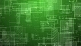 Κίνηση των αφηρημένων ψηφιακών τετραγώνων Άνευ ραφής ζωτικότητα βρόχων του πράσινου υποβάθρου τεχνολογίας απεικόνιση αποθεμάτων