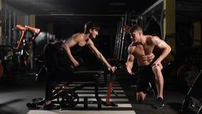 Κίνητρο Ώθηση-επάνω δύναμη γυναικών γυμναστικής pushup με τον αλτήρα σε μια ικανότητα workout ενθαρρύνει το σύντροφό της απόθεμα βίντεο
