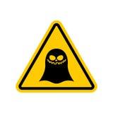 Κίνδυνοι φαντασμάτων προσοχής του κίτρινου οδικού σημαδιού τρομάστε την προσοχή ελεύθερη απεικόνιση δικαιώματος