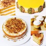 Κίτρινα άσπρα κέικ κολάζ Στοκ Εικόνες