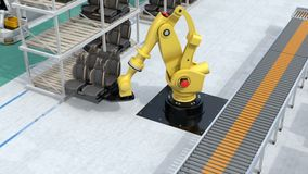 Κίτρινα βαρέων βαρών ρομποτικά καθίσματα οχημάτων βραχιόνων φέρνοντας για τη συνέλευση απεικόνιση αποθεμάτων