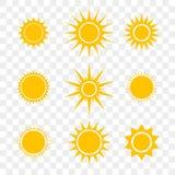 Κίτρινα επίπεδα εικονίδια κινούμενων σχεδίων ήλιων ή αστεριών διανυσματικά καθορισμένα διανυσματική απεικόνιση