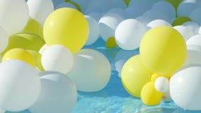 Κίτρινα και άσπρα μπαλόνια που επιπλέουν στο νερό απόθεμα βίντεο