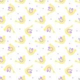 Κίτρινα και ιώδη περίκομψα πουλιά με τα σημεία στο υπόβαθρο Στοκ εικόνες με δικαίωμα ελεύθερης χρήσης