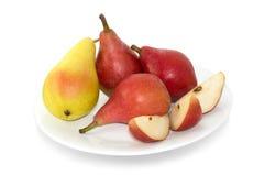 Κίτρινα και κόκκινα αχλάδια για το πρόχειρο φαγητό στοκ φωτογραφία