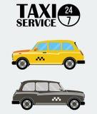 Κίτρινα και μαύρος-άσπρα αναδρομικά αμάξια ταξί Στοκ εικόνες με δικαίωμα ελεύθερης χρήσης