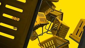 Κίτρινα καλάθια αγορών στο κίτρινο υπόβαθρο απεικόνιση αποθεμάτων