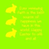 Κίτρινα κουνέλι και κείμενο με ένα πράσινο υπόβαθρο ελεύθερη απεικόνιση δικαιώματος