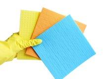 Να πάρει άρχισε Κίτρινα λαστιχένια γάντια για τον καθαρισμό στο άσπρο υπόβαθρο Γενικός ή κανονικός καθαρισμός στοκ εικόνες με δικαίωμα ελεύθερης χρήσης