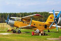 Κίτρινα με ένα κινητήρα αεροσκάφη Στοκ Εικόνες