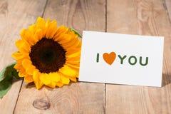 Κίτρινα λουλούδια και κενό έγγραφο για το κείμενό σας στο ξύλινο backgroun Στοκ φωτογραφίες με δικαίωμα ελεύθερης χρήσης
