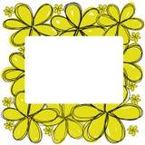 Κίτρινα λουλούδια doodle με το άσπρο τετραγωνικό διάστημα στο κεντρικό διάνυσμα Στοκ φωτογραφία με δικαίωμα ελεύθερης χρήσης