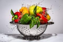 Κίτρινα, πράσινα και κόκκινα πιπέρια σε ένα τρυπητό Στοκ Εικόνες