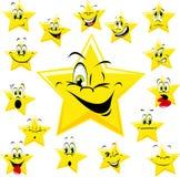 Κίτρινα πρόσωπα αστεριών κινούμενων σχεδίων Στοκ φωτογραφία με δικαίωμα ελεύθερης χρήσης
