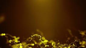 Κίτρινα χρυσά κύματα ενεργειακών φωτεινά σειρών Loopable με τις φλόγες και διάστημα αντιγράφων για το κείμενο ή το λογότυπο Μελλο απόθεμα βίντεο