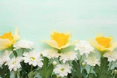 Κίτρινα daffodils με τα άσπρα crisands σε ένα ξύλινο υπόβαθρο, τοπ άποψη, με το κενό διάστημα για το γράψιμο ή τη διαφήμιση στοκ φωτογραφία με δικαίωμα ελεύθερης χρήσης