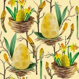Κίτρινα daffodils σχεδίων Watercolor άνευ ραφής απεικόνιση αποθεμάτων