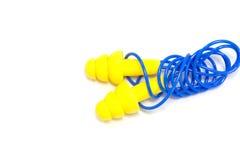 Κίτρινα earplugs στοκ εικόνες με δικαίωμα ελεύθερης χρήσης