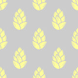 Κίτρινα succulents κρητιδογραφιών στο γκρίζο υπόβαθρο πρότυπο άνευ ραφής Στοκ φωτογραφία με δικαίωμα ελεύθερης χρήσης