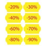 Κίτρινες αυτοκόλλητες ετικέττες πώλησης στοκ φωτογραφία με δικαίωμα ελεύθερης χρήσης