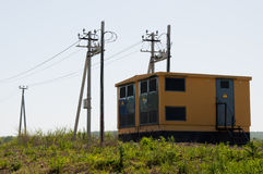 Κίτρινες εγκαταστάσεις μετασχηματιστών Στοκ φωτογραφίες με δικαίωμα ελεύθερης χρήσης