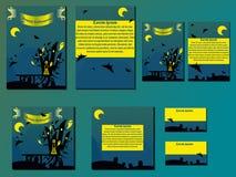 Κίτρινες και μπλε φυλλάδια και επαγγελματικές κάρτες με το κάστρο αποκριών Στοκ Φωτογραφίες