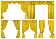 Κίτρινες κουρτίνες στο άσπρο υπόβαθρο Στοκ εικόνα με δικαίωμα ελεύθερης χρήσης