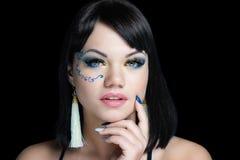 Κίτρινες μπλε σκιές ματιών γυναικών στοκ φωτογραφίες