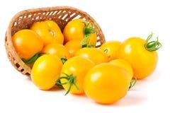 Κίτρινες ντομάτες που ανατρέπονται από ένα ψάθινο καλάθι που απομονώνεται στο άσπρο υπόβαθρο Στοκ εικόνα με δικαίωμα ελεύθερης χρήσης