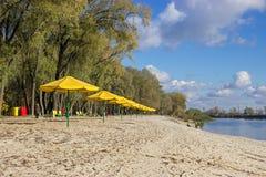Κίτρινες ομπρέλες στην παραλία Στοκ εικόνα με δικαίωμα ελεύθερης χρήσης