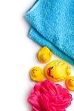 Κίτρινες πάπιες λουτρών και ριπή λουτρών Στοκ Εικόνες