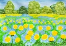 Κίτρινες πικραλίδες και μπλε myosotis - forget-me-nots στοκ εικόνες με δικαίωμα ελεύθερης χρήσης