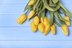 Κίτρινες τουλίπες στους μπλε πίνακες Στοκ φωτογραφία με δικαίωμα ελεύθερης χρήσης