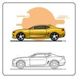 Κίτρινη έξοχη πλάγια όψη αυτοκινήτων ελεύθερη απεικόνιση δικαιώματος