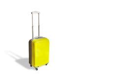 Κίτρινη λαβή βαλιτσών ταξιδιού Στοκ Φωτογραφία