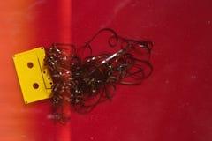 Κίτρινη ακουστική ταινία κασετών με την ταινία σε ένα κόκκινο υπόβαθρο, τοπ άποψη Αναδρομική ρωμανική έννοια τεχνολογίας με τις γ Στοκ Εικόνες
